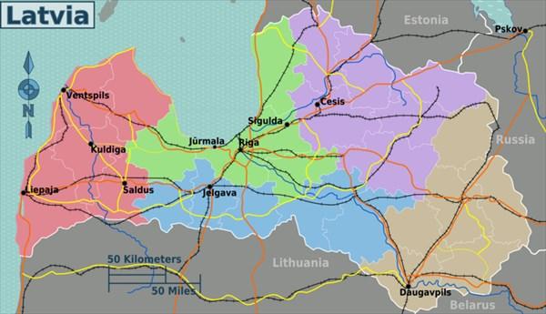 Краткая карта ж\д сообщения Латвии