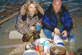 С женой на рыбалке