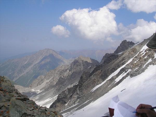 Вид с перевала В. Ломакина в сторону ущелья реки Проходная