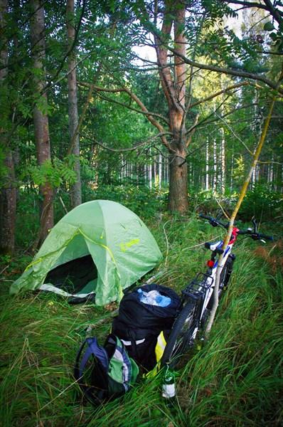 Заключительная дикая ночевка велотура,  в 30 км от Лахти.