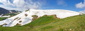Панорама. Снежник с седловины перевала Караташский