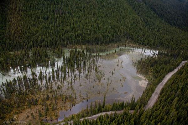 Затопленные районы. Вид с вертолёта.