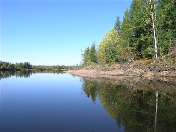 Учур полноводная река, течет по равнине.