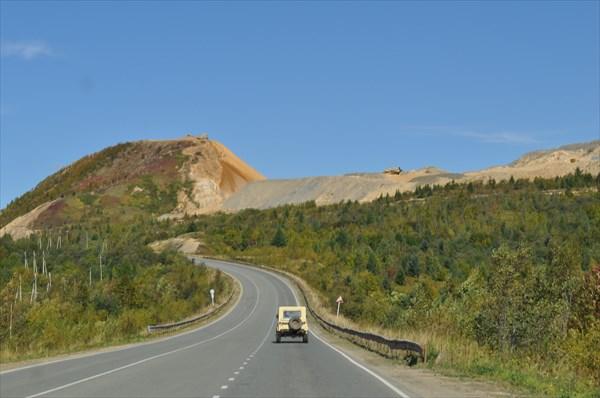 Трансахалин. автомагистрать,дорога на север,в сторону Поронайск