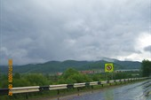Вид на горы с моста через р.Сим в грозу
