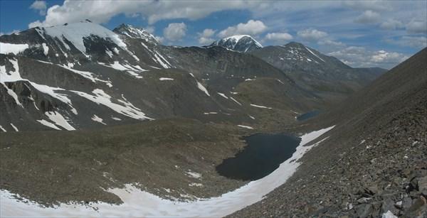Вид с перевального взлета на долину реки Елангаш.