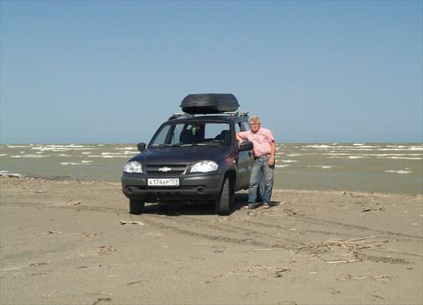 «Помочил» колеса на западном побережье Каспия.