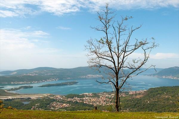 Вид с хребта на Тиват и Которскую бухту