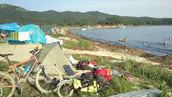Пятый день пути .Пляж в районе п. Андреевка
