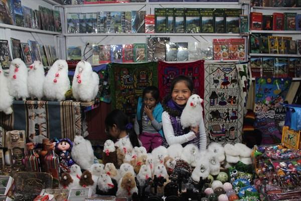 Маленькая девочка продает альпак