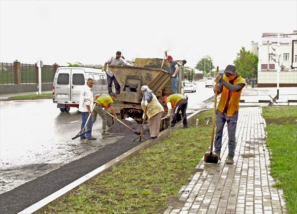 Дорожные рабочие-чеченцы