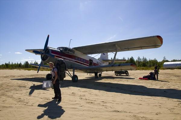 Аэропорт в Нижней Пеше. Взлетно-посадочная полоса здесь - песок.