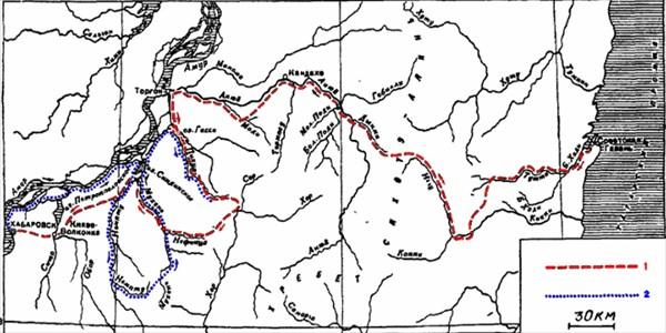 Схема экспедиции Арсеньева 1927 г.