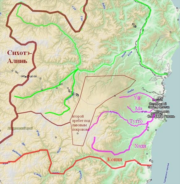 Физическая карта района Советской Гавани