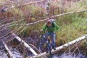 Переход с велосипедом через канаву