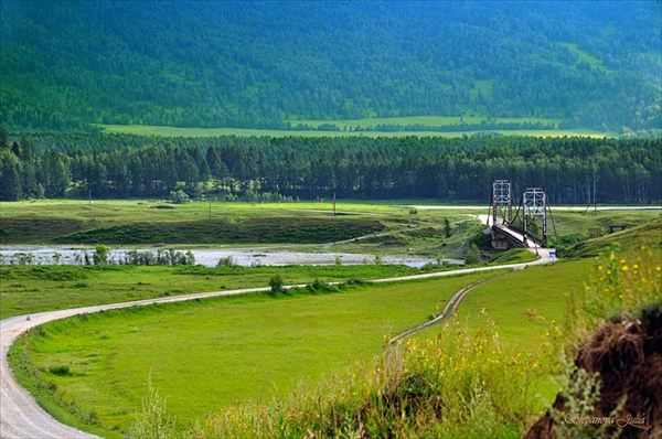 Перед с. Мульта, мост через Катунь
