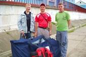 Наша славная троица на вокзале в Анзёби