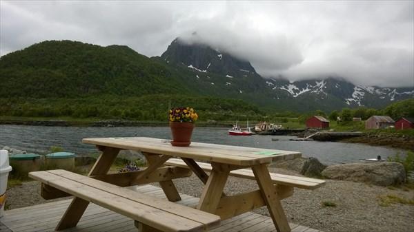 Горшочек с цветами на пристани Fiskebol