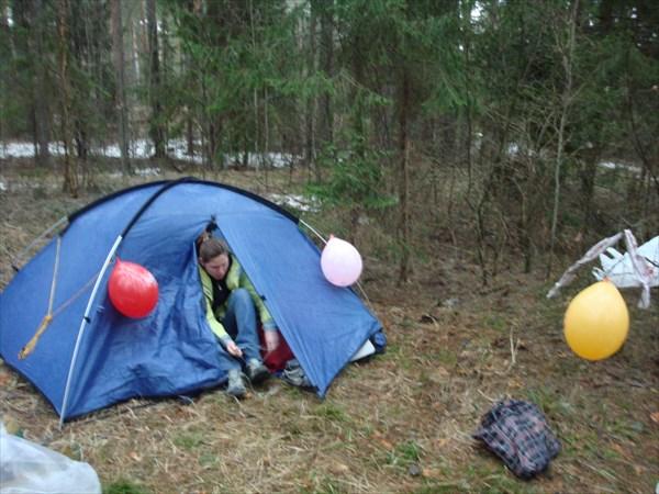 Празднично украшенная палатка