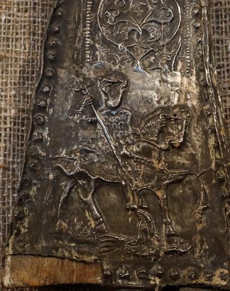 Деталь церковного украшения ,чеканка по серебру .