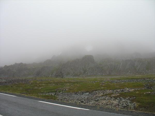 На обратной дороге попали в туман