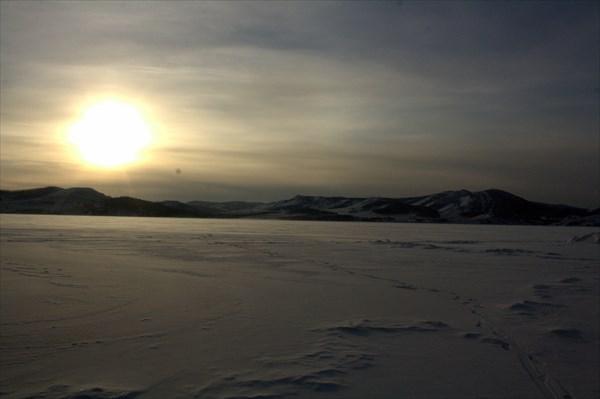 Январский закат на Енисее