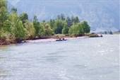 Чалка к левому берегу реки