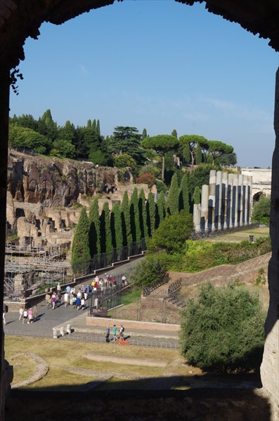 Вид из Колизея на холм Палатин
