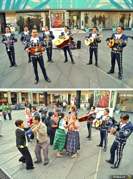 Марьячи на площади Garibaldi, Мехико Сити