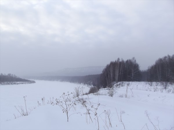 Томь, Ажендаровский хребет в тумане
