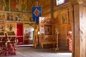 Внутренее убранство храма кижского Погоста.