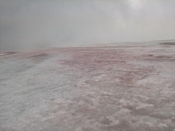 Снег при спуске с купола какой-то розовый