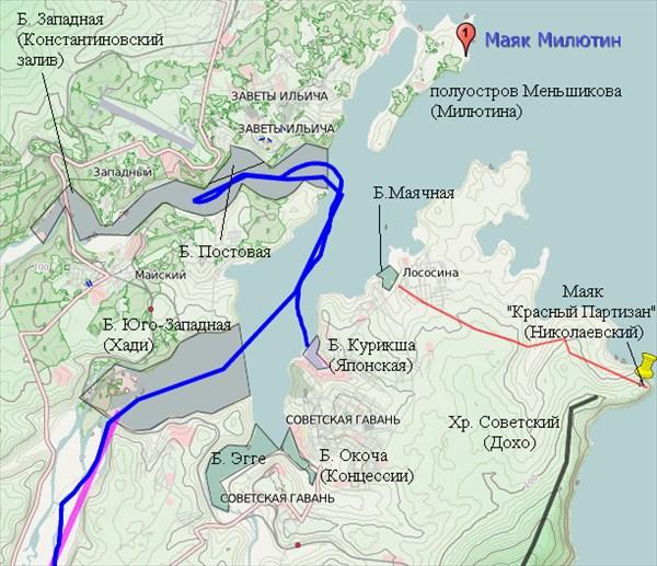 Схема Советской Гавани с указанными Арсеньевым топонимами