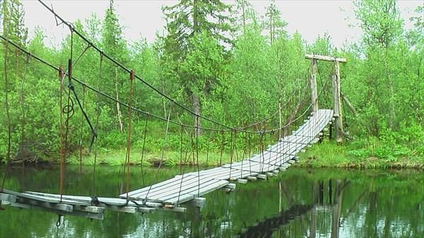 Стремный навесной мост через Сергевань
