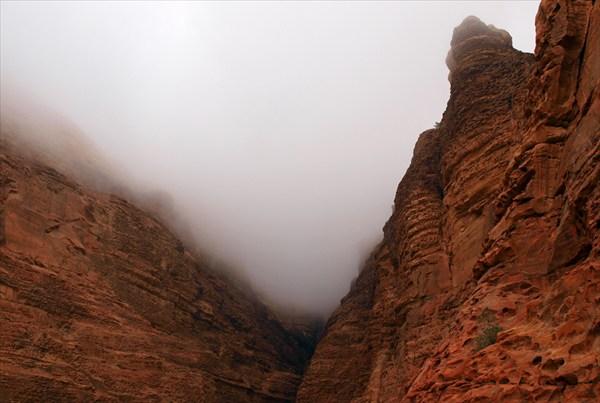 В ущелье начал опускаться густой туман и полил дождь