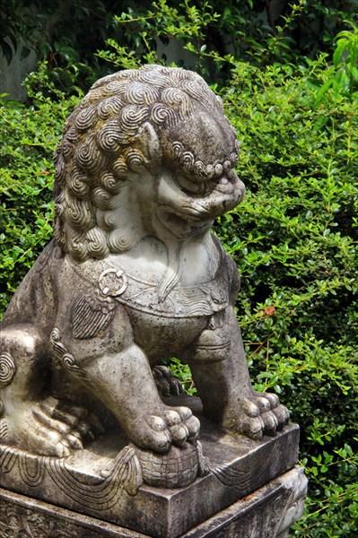 Китайский лев, типичный страж ворот в сад