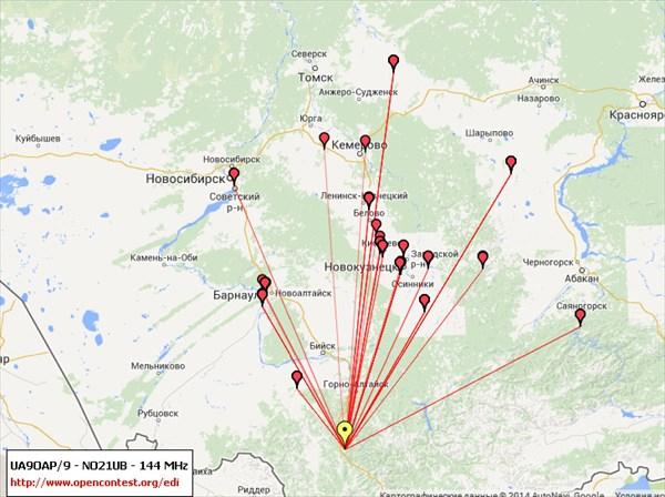 Карта связей на 144 МГц (2 метра)