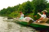 20 июля 2008. Уже река Теша. Плыть стало легко и весело.