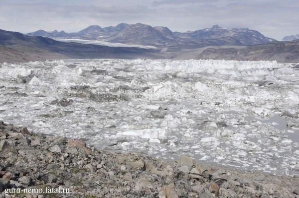 Озеро Hullet и ледник Sydglacier.