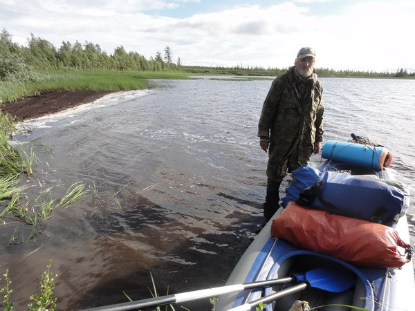 На одном из цепи озер, волок на Куткатъюшлор.