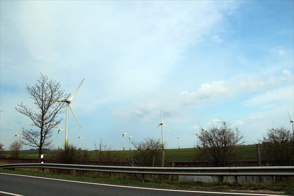 Ветряки словно вырастают из земли