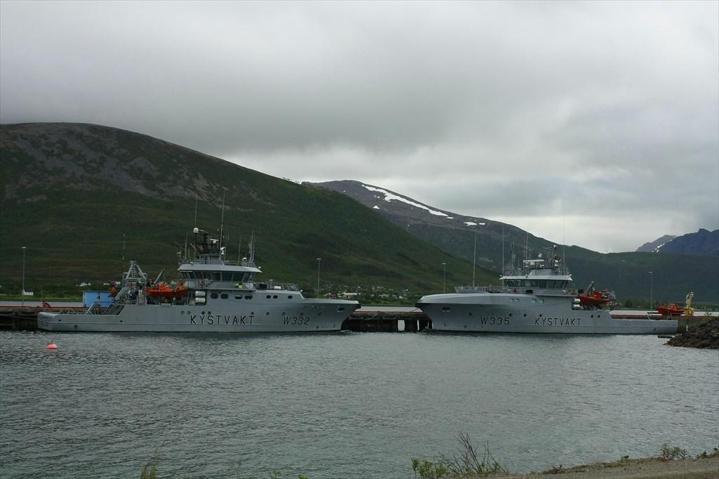 Sortland. Корабли береговой охраны Heimdal и Magnus Lagabote