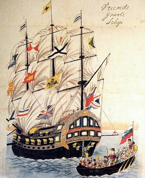 """на фото: Фрегат """"Паллада"""" в порту Нагасаки в 1854"""
