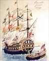 """Фрегат """"Паллада"""" в порту Нагасаки в 1854"""