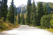 Дорога на Турбазу Чимбулак вблизи Алматы (Казахстан)