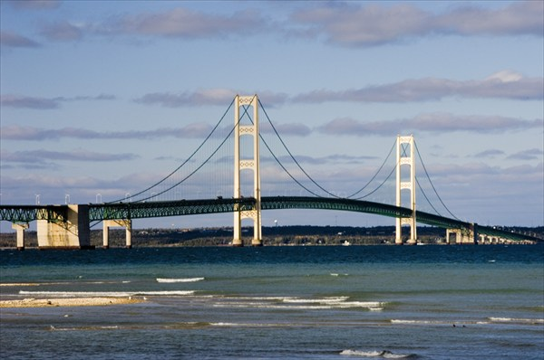 General Scenic of Mackinac Bridge taken from Mackinaw city side
