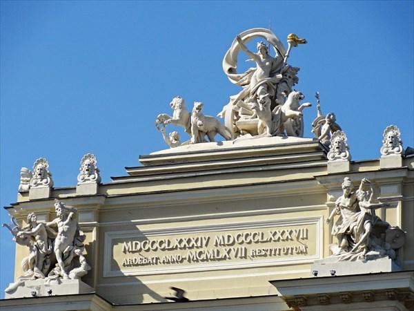 Скульптурные группы на крыше театра