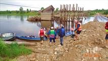 Обнос плотины наплавного моста
