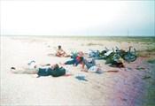 Отдых велотуристов. Азовский пляж.