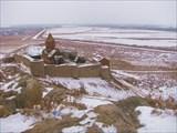 Хор-Вирап.Отсюда должно быть видно Арарат. В тумане его не было.